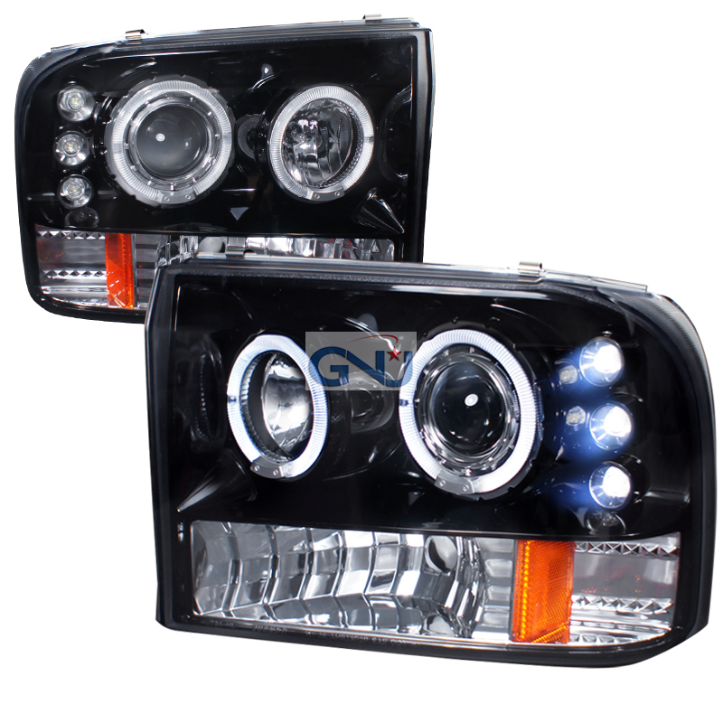 Ford Super Duty  1999-2004 Gloss Black Halo Projector Headlights Smoke Lens