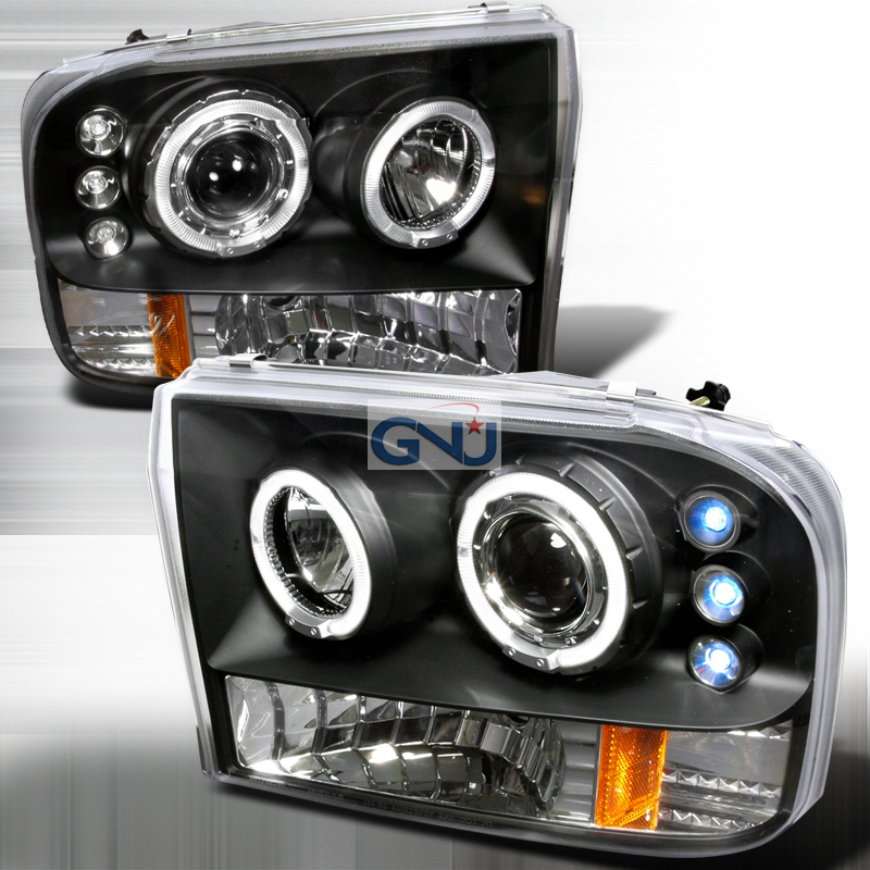 Ford Super Duty  1999-2004 Black Halo Projector Headlights  W/LED'S