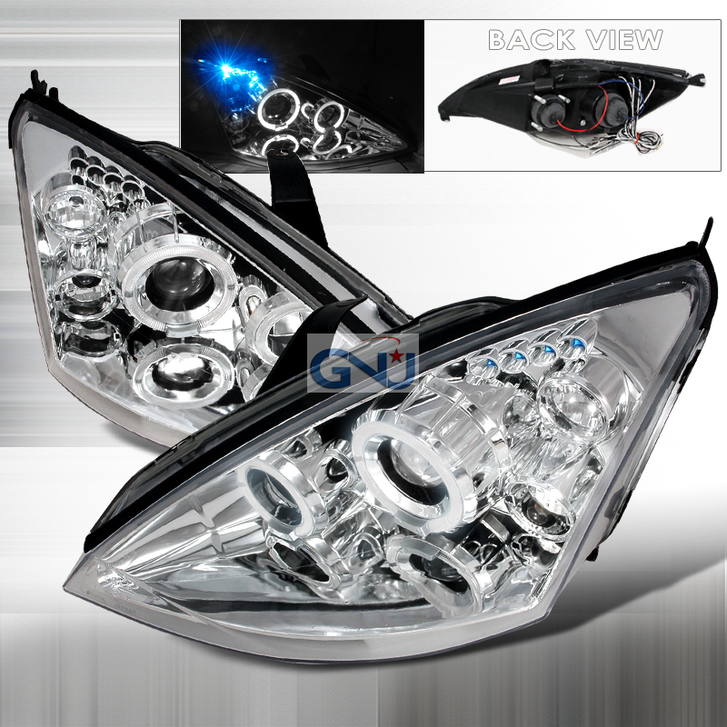 Ford Focus  2000-2004 Chrome Halo Projector Headlights  W/LED'S