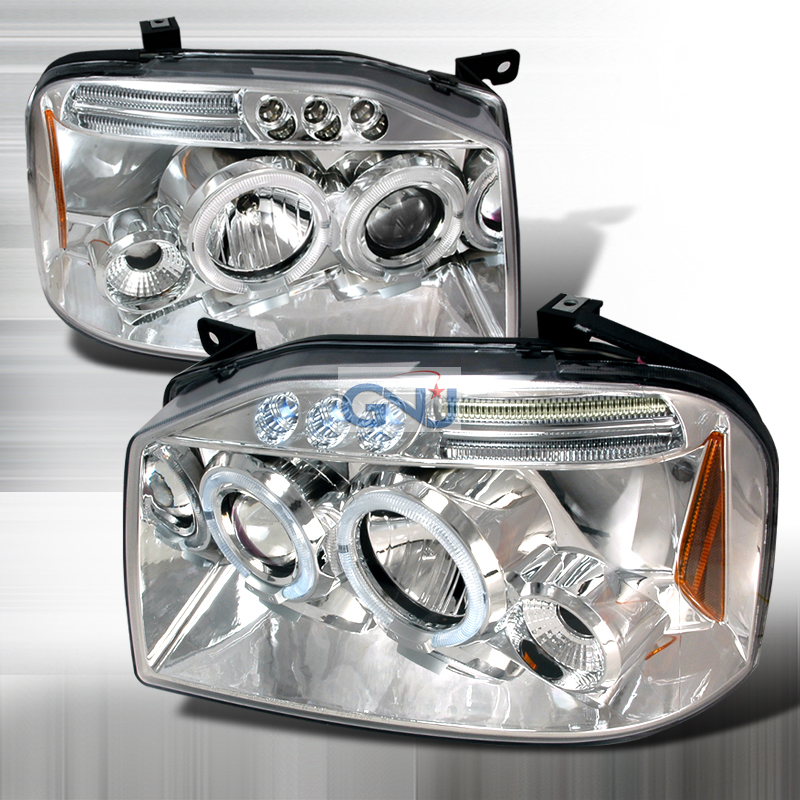 Nissan Frontier  2001-2004 Chrome Halo Projector Headlights  W/LED'S