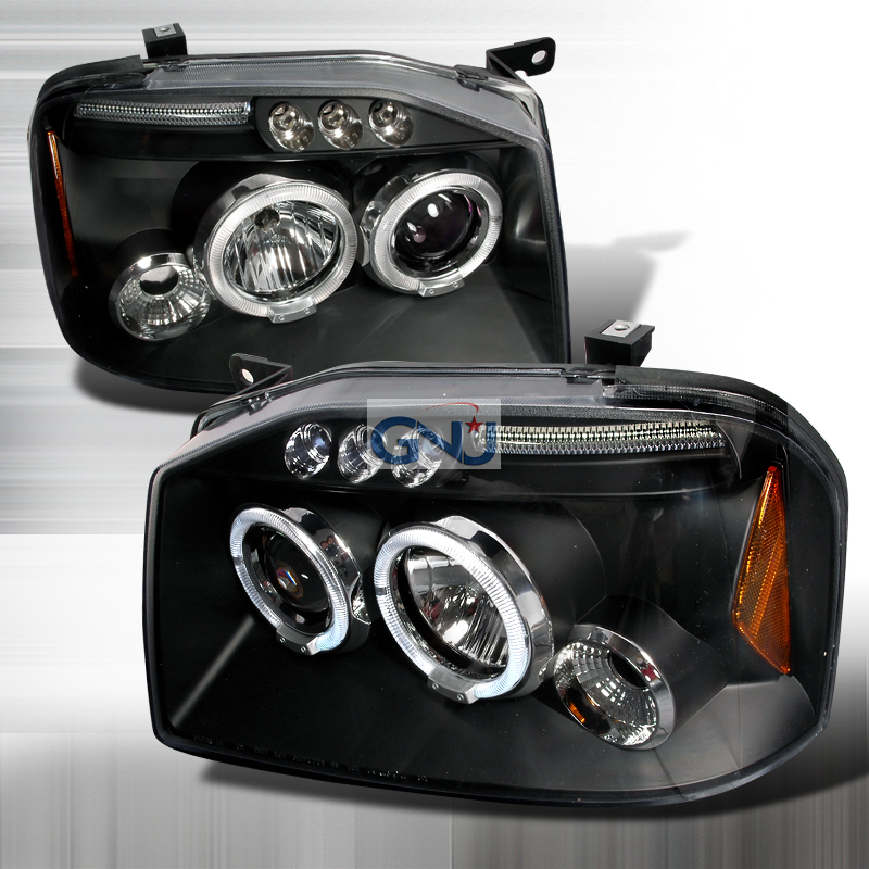 Nissan Frontier  2001-2004 Black Halo Projector Headlights  W/LED'S