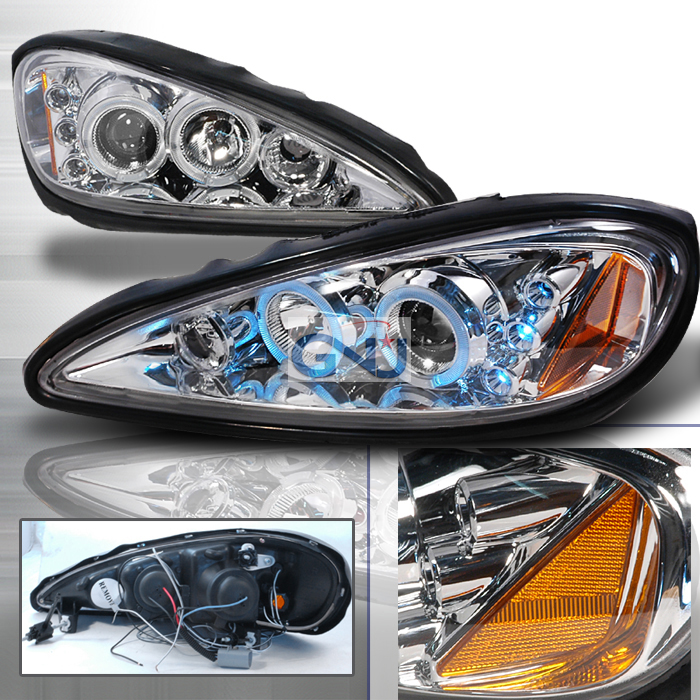 Pontiac Grand Am  1999-2005 Chrome Halo Projector Headlights  W/LED'S