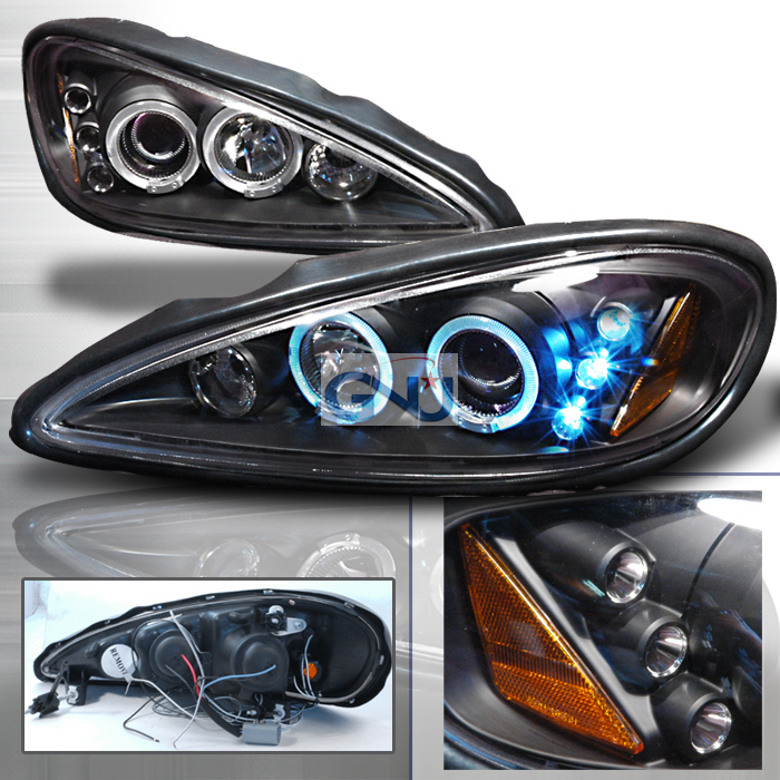 Pontiac Grand Am  1999-2005 Black Halo Projector Headlights  W/LED'S