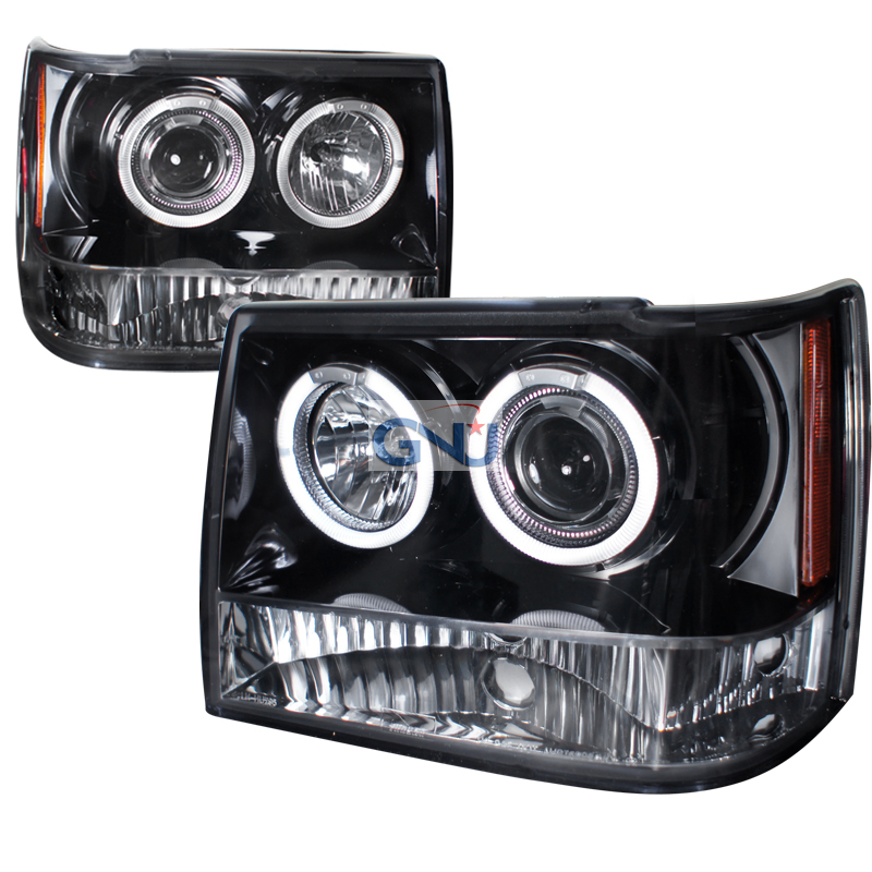 Jeep Grand Cherokee  1993-1998 Gloss Black Halo Projector Headlights Smoke Lens