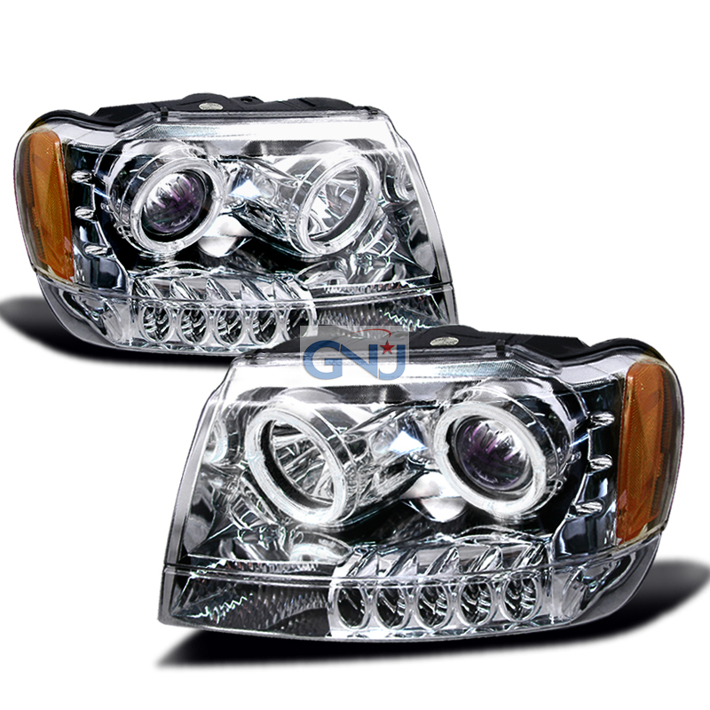 Jeep Grand Cherokee  1999-2004 Chrome Halo Projector Headlights