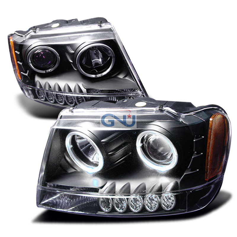 Jeep Grand Cherokee  1999-2004 Black Halo Projector Headlights