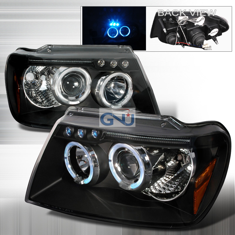 Jeep Grand Cherokee  1999-2004 Black Halo Projector Headlights  W/LED'S