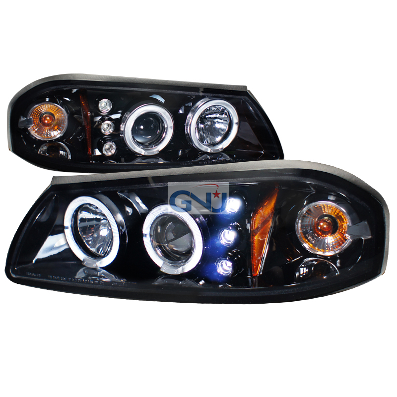 Chevrolet Impala  2000-2005 Gloss Black Halo Projector Headlights Smoke Lens