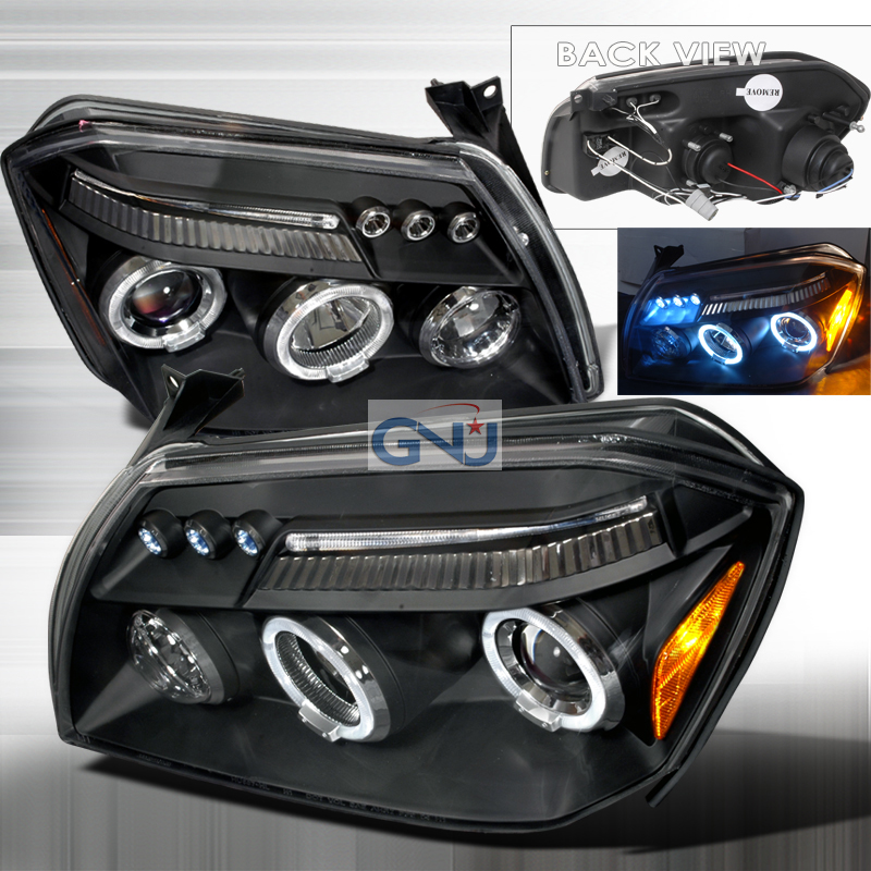 Dodge Magnum  2005-2008 Black Halo Projector Headlights  W/LED'S