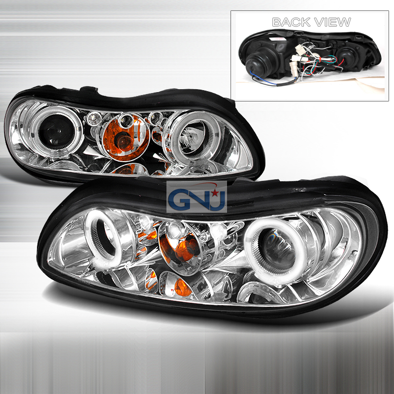 Chevrolet Malibu 1997-2003 Halo LED  Projector Headlights - Chrome
