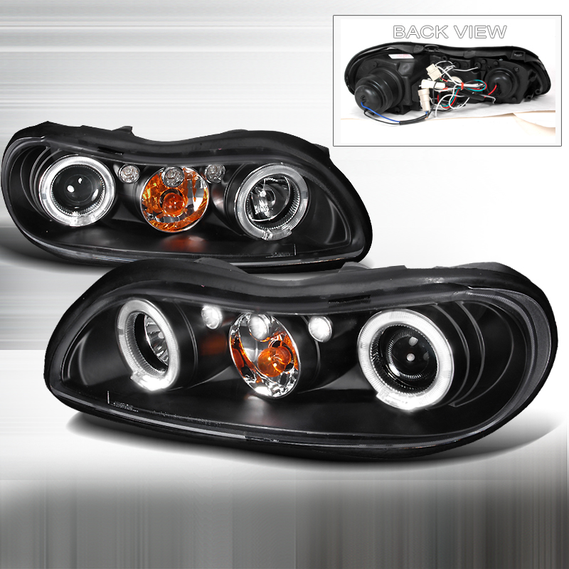 Chevrolet Malibu  1999-2003 Black Halo Projector Headlights  W/LED'S