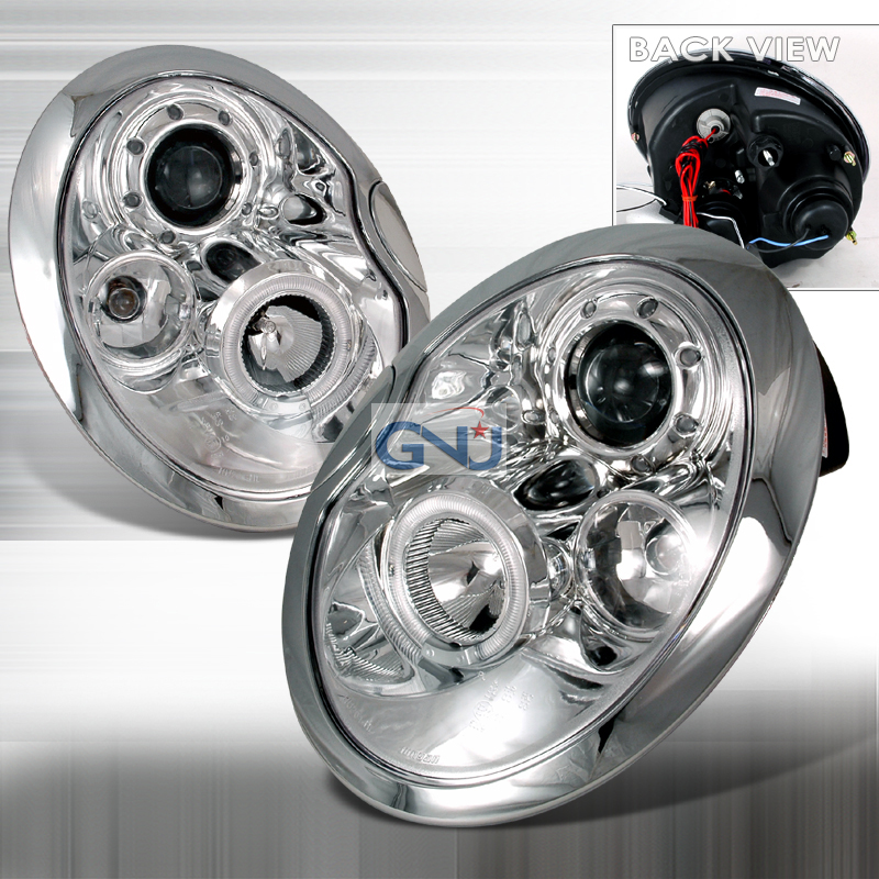 Mini Cooper  2002-2005 Chrome Halo Projector Headlights  W/LED'S
