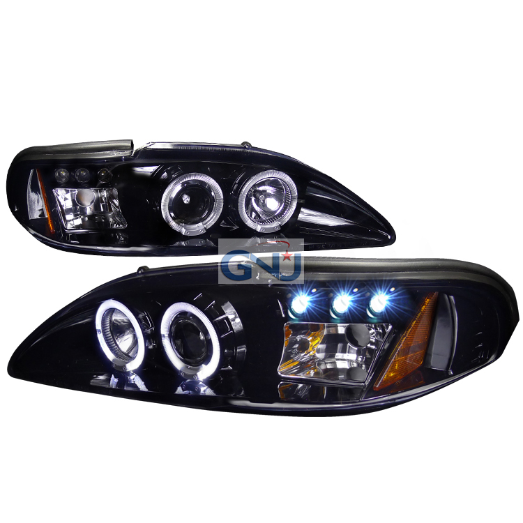 Ford Mustang  1994-1998 Gloss Black  Projector Headlights Smoke Lens