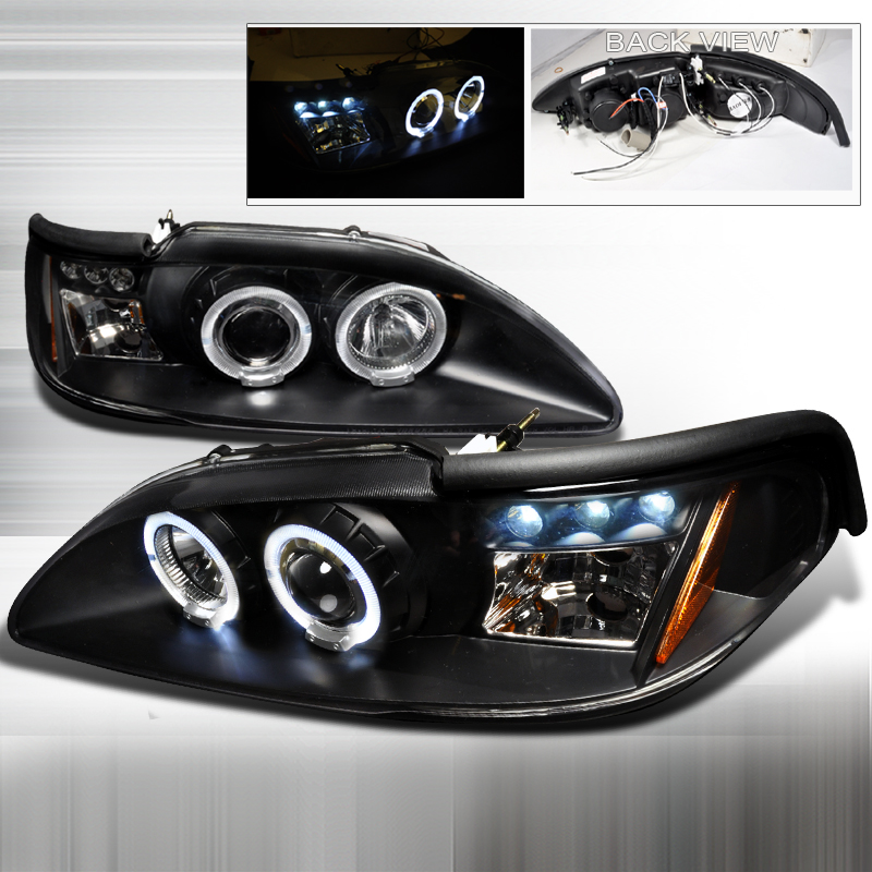 Ford Mustang  1994-1998 Black Halo Projector Headlights  W/LED'S