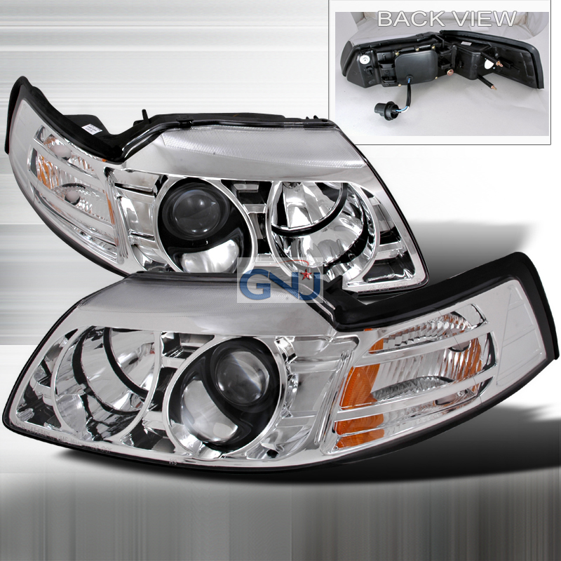 Ford Mustang  1999-2004 Chrome Halo Projector Headlights