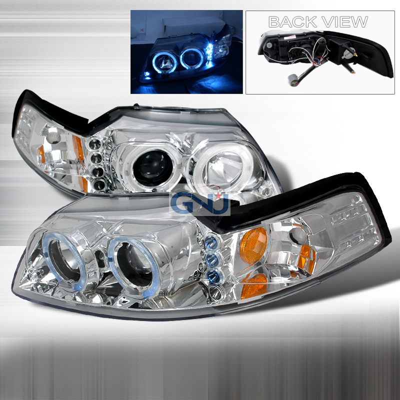 Ford Mustang  1999-2004 Chrome Halo Projector Headlights  W/LED'S