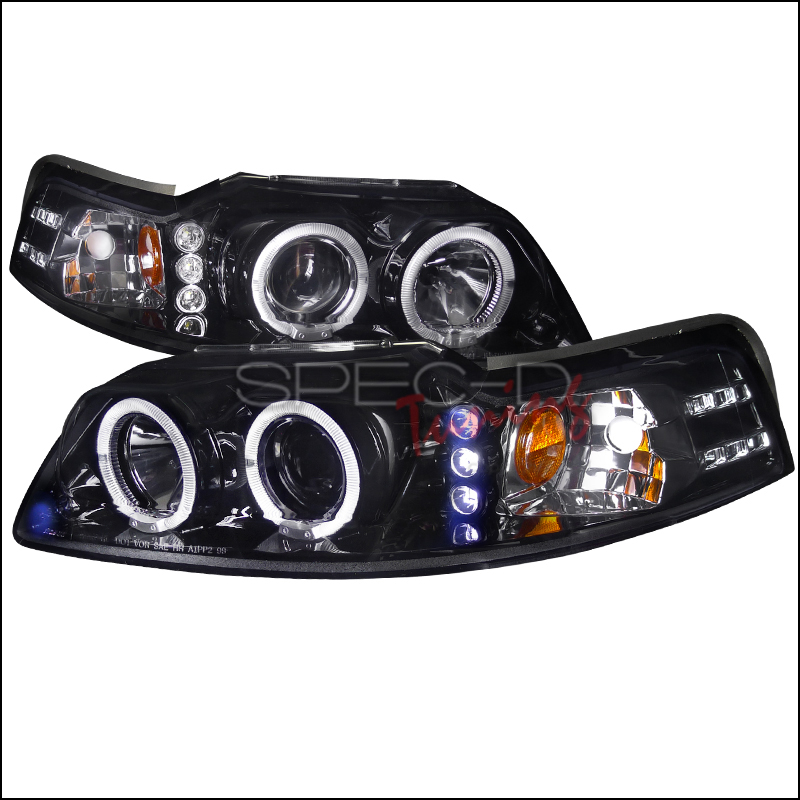 Ford Mustang  1999-2004 Gloss Black  Projector Headlights Smoke Lens