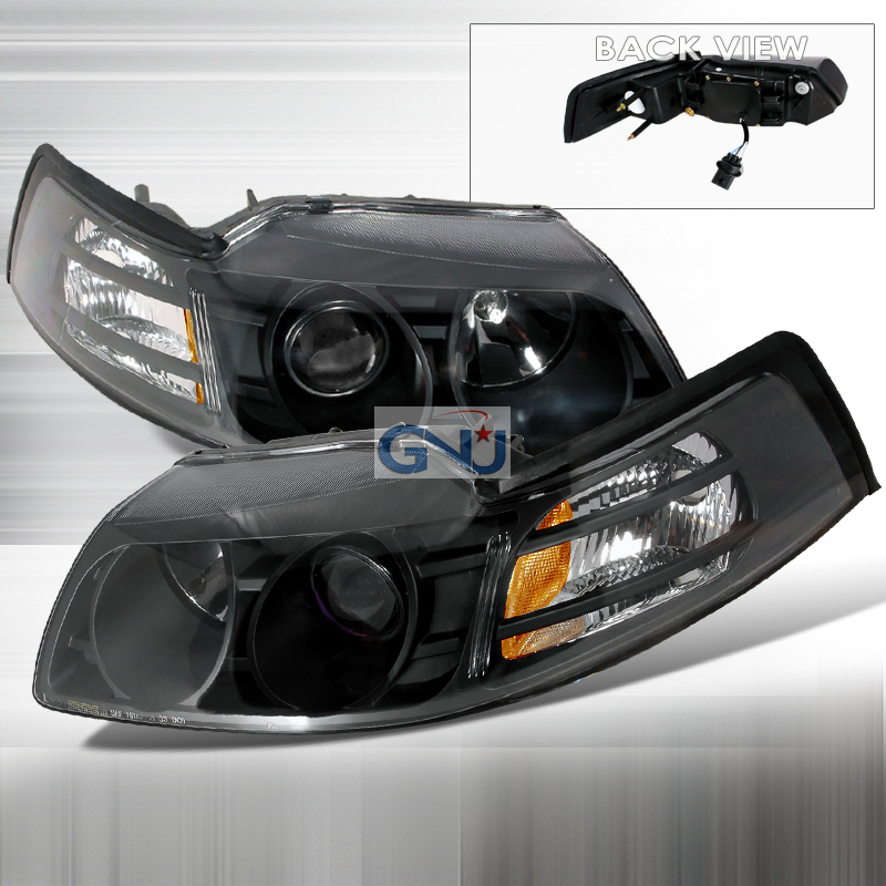 Ford Mustang  1999-2004 Black Halo Projector Headlights