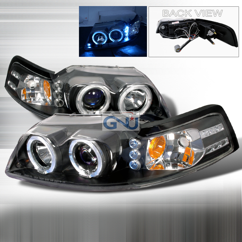 Ford Mustang  1999-2004 Black Halo Projector Headlights  W/LED'S