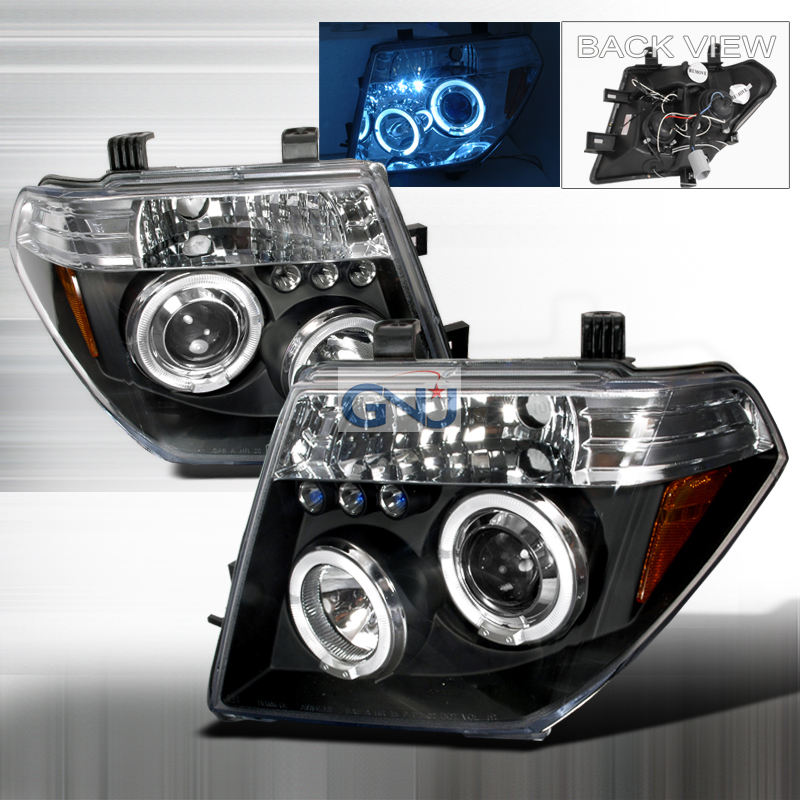 Nissan Frontier  2005-2008 Black Halo Projector Headlights  W/LED'S