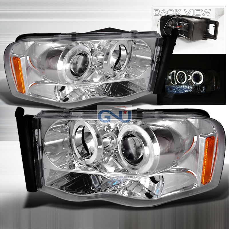 Dodge Ram  2002-2005 Chrome Halo Projector Headlights  W/LED'S