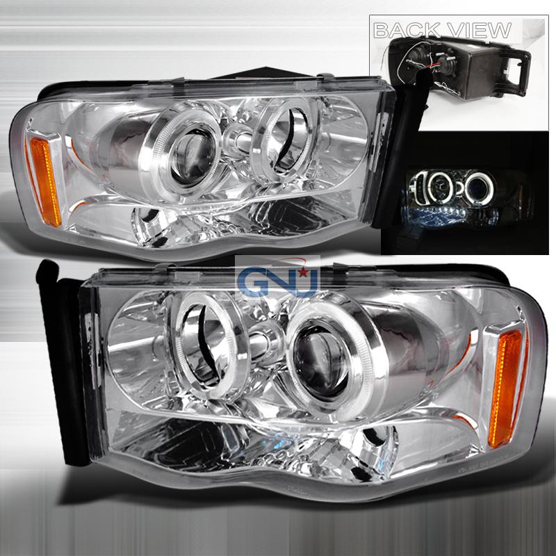 Dodge Ram  2002-2005 Chrome Halo Projector Headlights  W/LED'S