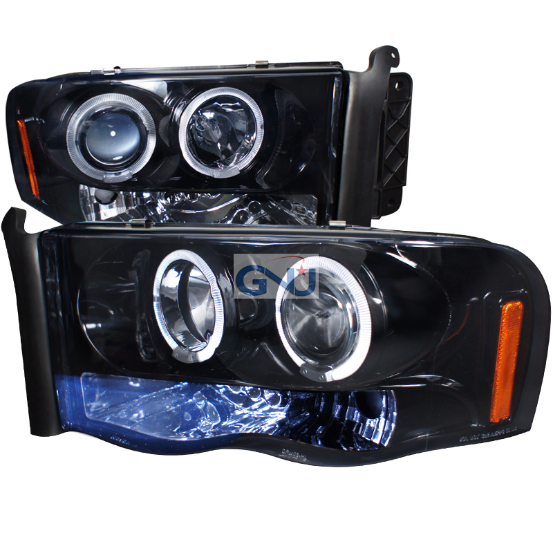 Dodge Ram  2002-2005 Gloss Black Halo Projector Headlights Smoke Lens