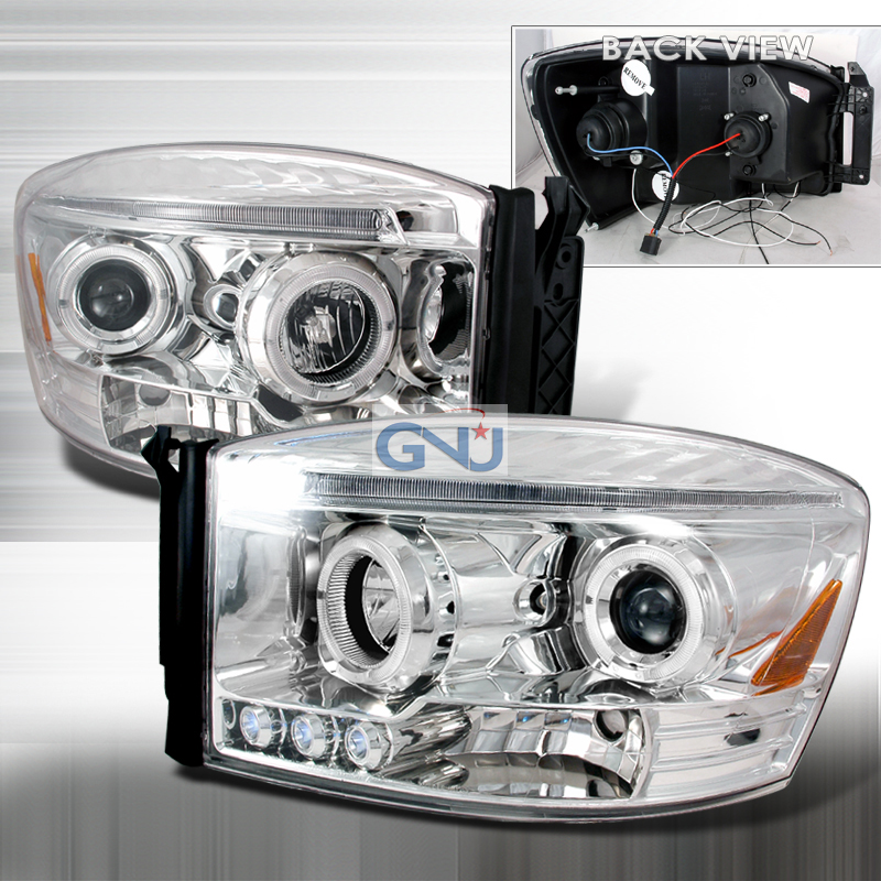 Dodge Ram  2006-2008 Chrome Halo Projector Headlights  W/LED'S