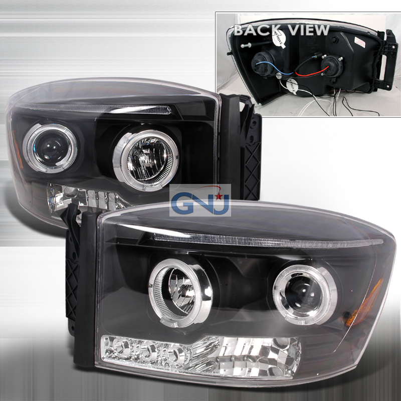 Dodge Ram  2006-2008 Black Halo Projector Headlights  W/LED'S
