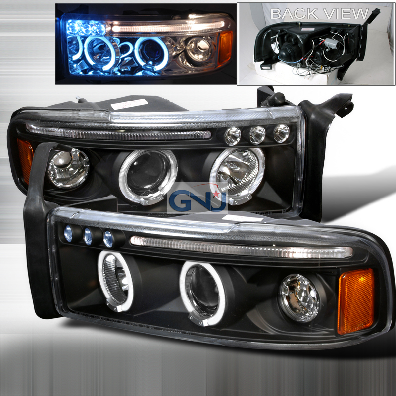 Dodge Ram  1994-2001 Black Halo Projector Headlights  W/LED'S