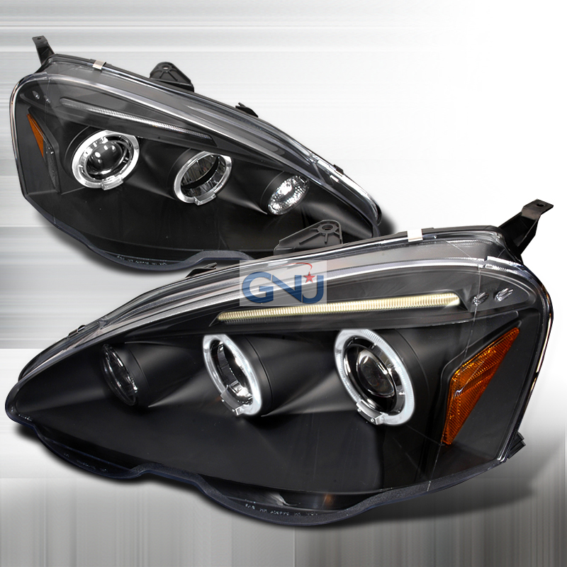 Acura RSX  2002-2004 Black Halo Projector Headlights  W/LED'S