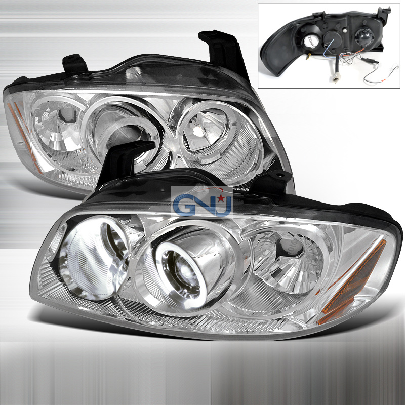Nissan Sentra  2004-2006 Chrome Halo Projector Headlights  W/LED'S