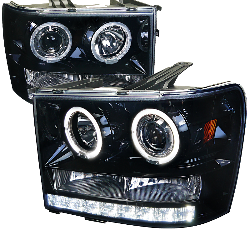 Gmc Sierra  2007-2012 Gloss Black  Projector Headlights Smoke Lens