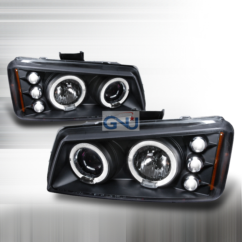 Chevrolet Silverado  2003-2006 Black Halo Projector Headlights  W/LED'S