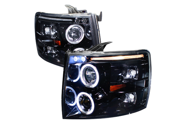 Chevrolet Silverado  2007-2010 Gloss Black  Projector Headlights Smoke Lens