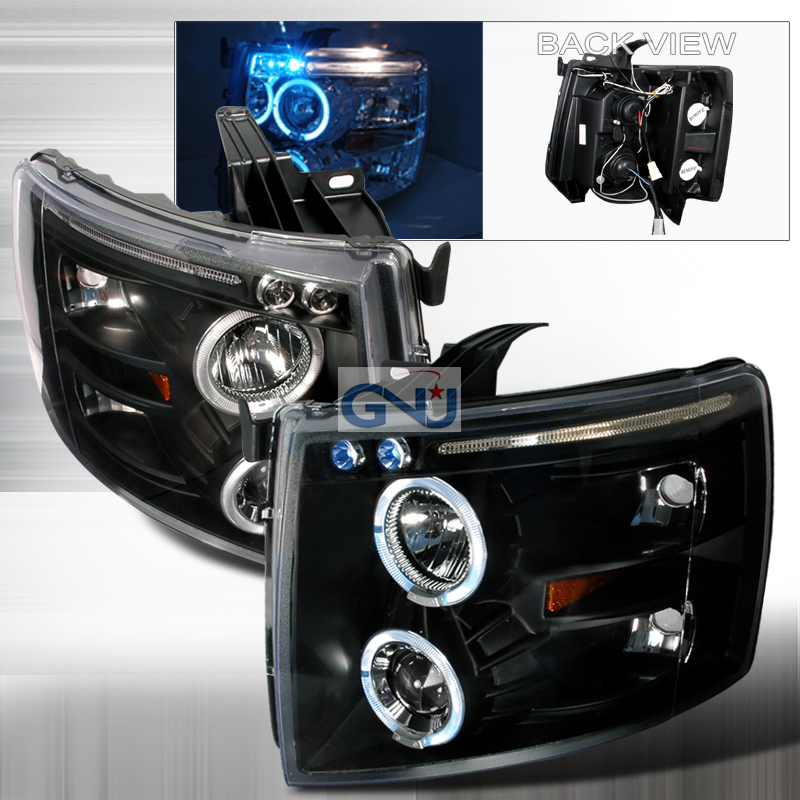 Chevrolet Silverado  2007-2010 Black Halo Projector Headlights  W/LED'S