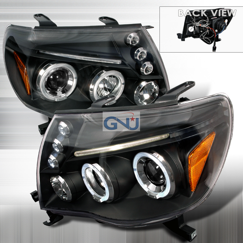 Toyota Tacoma  2005-2010 Black Halo Projector Headlights  W/LED'S