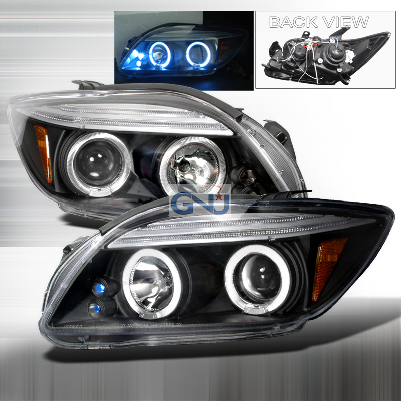Scion TC  2005-2010 Black Halo Projector Headlights  W/LED'S