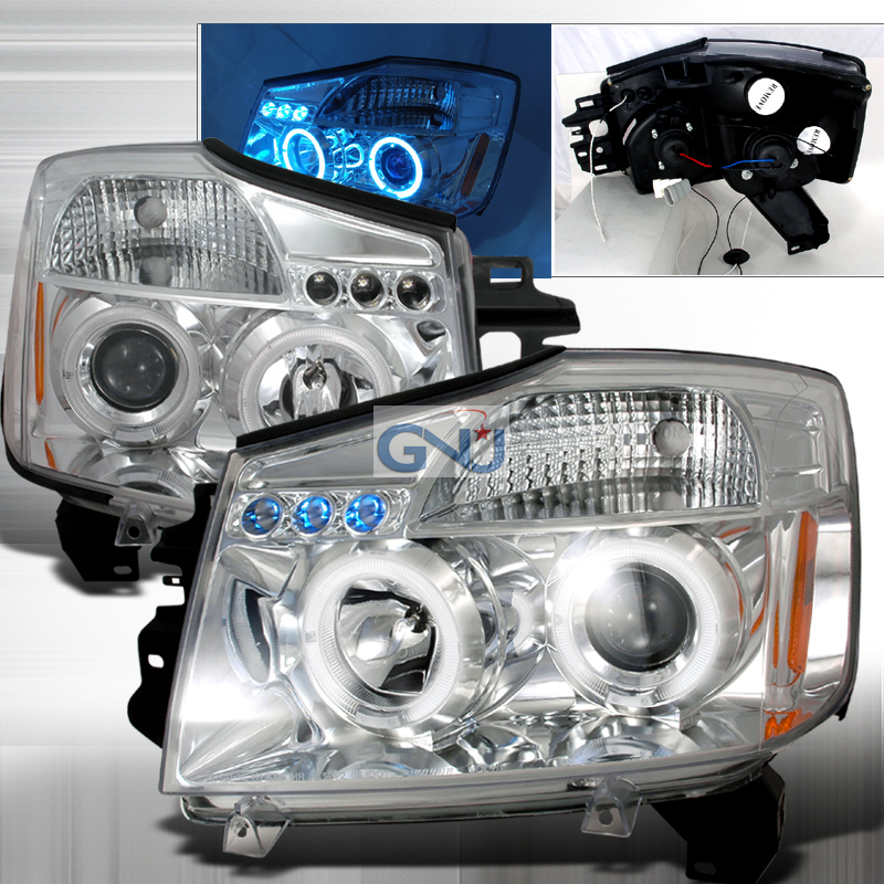 Nissan Titan  2004-2007 Chrome Halo Projector Headlights  W/LED'S