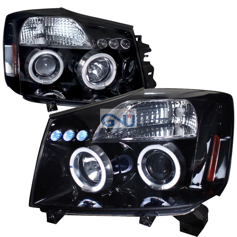Nissan Titan  2004-2007 Gloss Black Halo Projector Headlights Smoke Lens