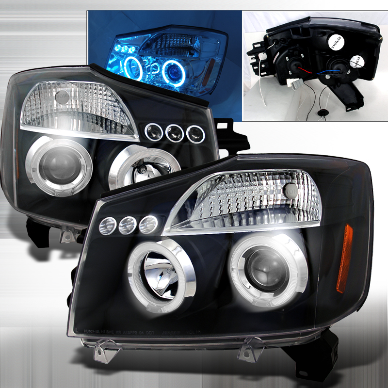 Nissan Armada  2004-2007 Black Halo Projector Headlights  W/LED'S