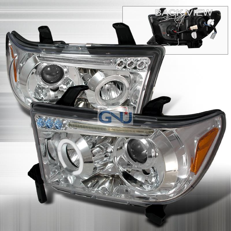 Toyota Tundra  2007-2011 Chrome Halo Projector Headlights  W/LED'S