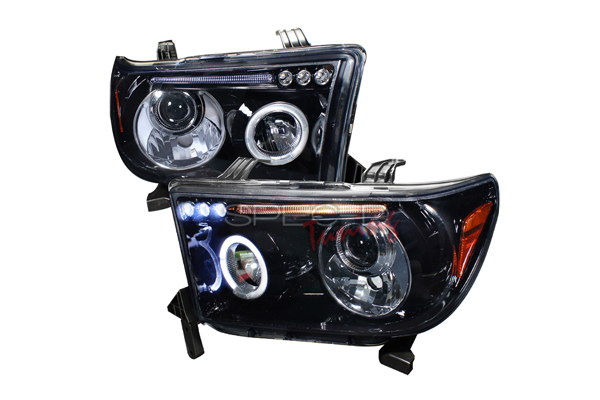 Toyota Tundra  2007-2011 Gloss Black  Projector Headlights Smoke Lens