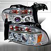 Dodge Dakota 1997-2001 Chrome Projector Headlights w/ Dual Halo