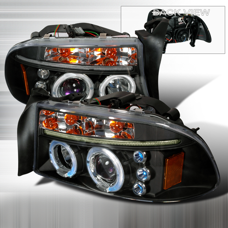 Dodge Dakota 1997-2001 Black Projector Headlights w/ Dual Halo