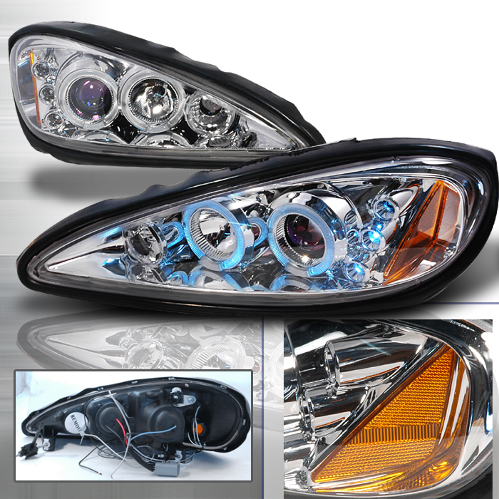 Pontiac Grand Am 1999-2005 Chrome Projector Headlights w Halo