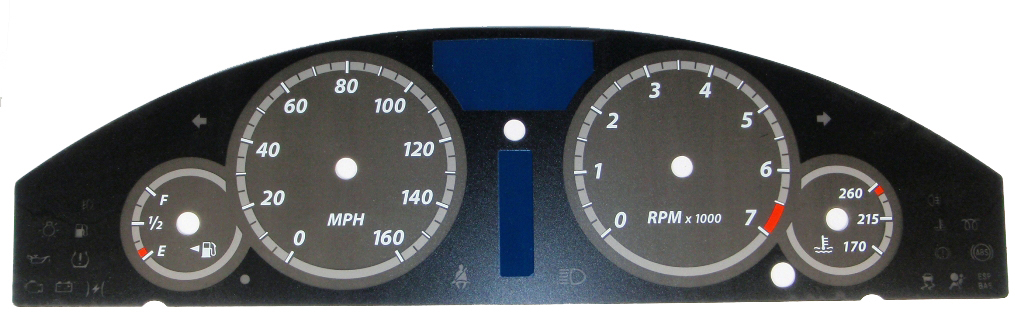 Chrysler 300c 2005-2009 300  Base Model Black / Silver Night Performance Dash Gauges