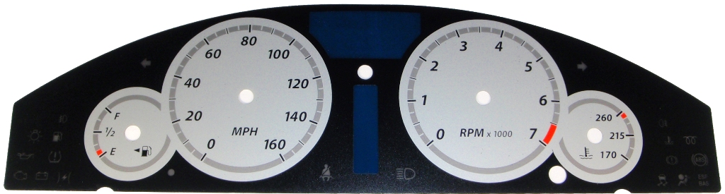 Chrysler 300c 2005-2009 300  Base Model Silver / Silver Night Performance Dash Gauges