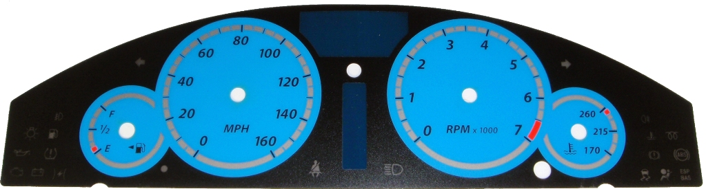 Chrysler 300c 2005-2009 300  Base Model Blue / Blue Night Performance Dash Gauges