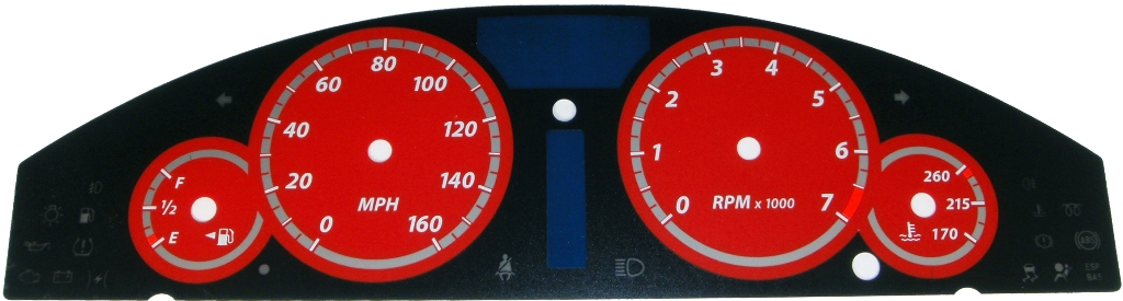 Chrysler 300c 2005-2009 300  Base Model Red / Red Night Performance Dash Gauges